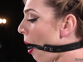 Slave in bondage double penetration fucked