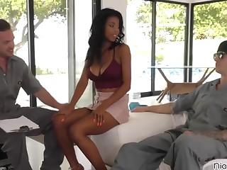 Teen ebony Nia Nacci gets two white dicks to play with