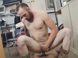 Bearded jock with tight ass is getting battered by her always horny colleague