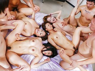 Aoi Miyama shares soem big dicks with her Asian friends