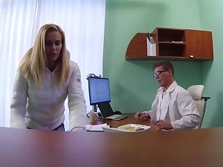 Blonde MILF Feeds Then Fucks Doctor