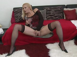 Hot blonde MILF fucking and sucking her ass off