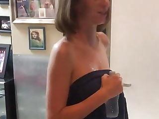 Maya Hawke wearing a towel backstage