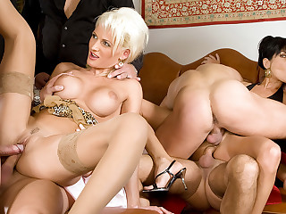 Two hot MILFs get rammed by big dicks